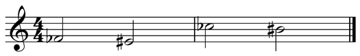 a music staff showing enharmonic equivalents