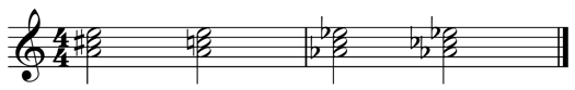 a progression from A major to A♭ minor, illustrating the use of C Flat in the last chord.