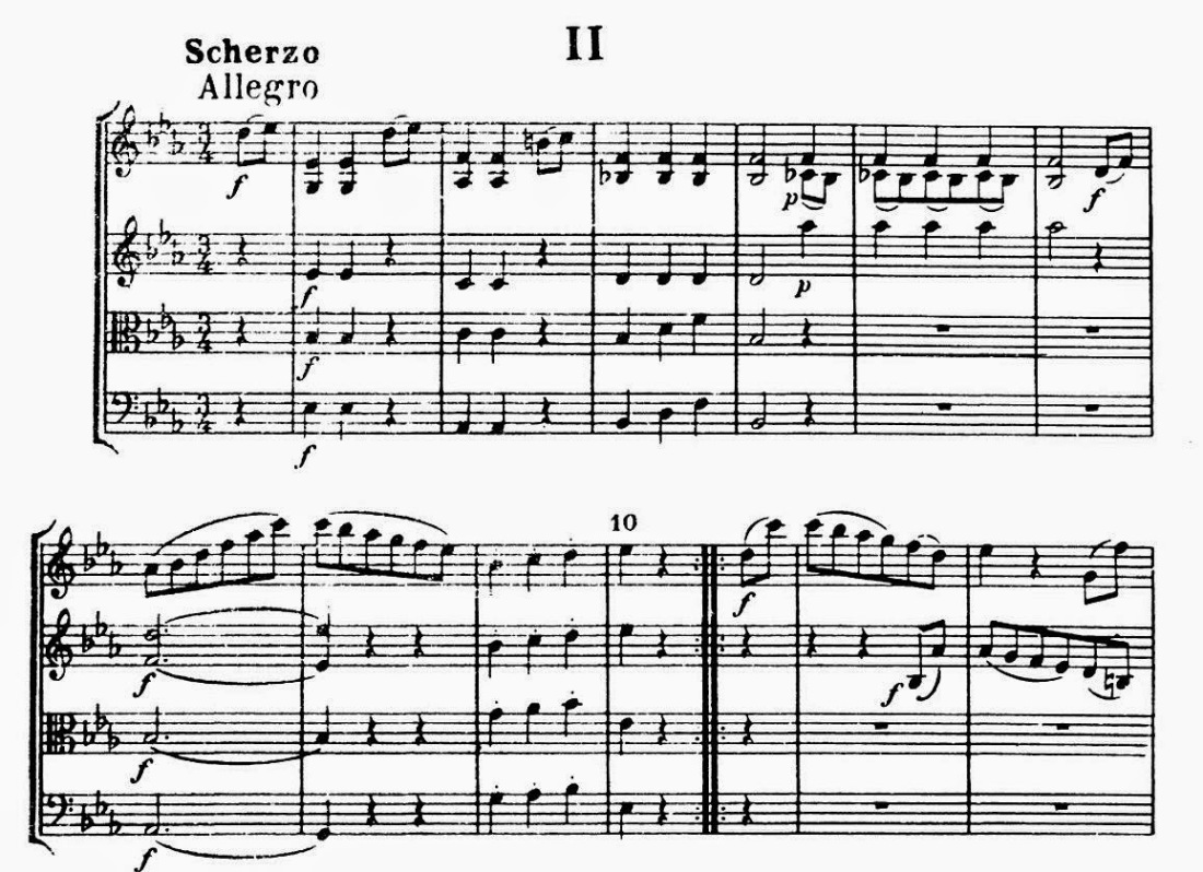 excerpt from Haydn's String Quartet In E-flat Major Opus 33, No. 2