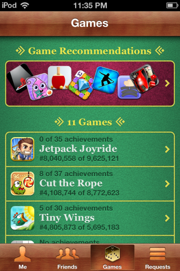 Game Center, the app that's only launched for screenshots.