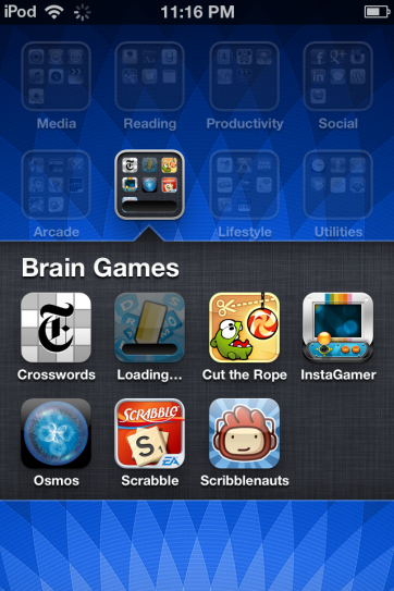 An open folder with a downloading app.
