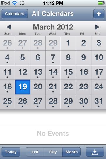 The default calendar application.