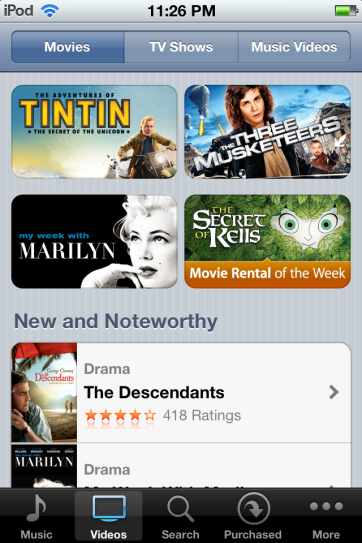 Browsing movies in iTunes.