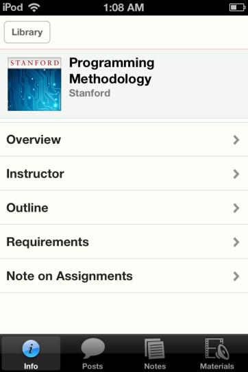 A typical iTunes U course.
