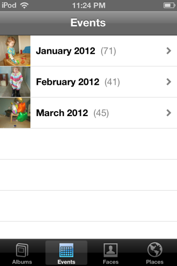 Photos can be sorted by events, faces, album, etc.