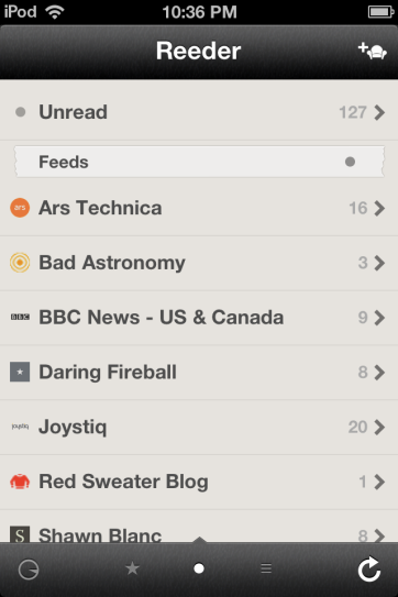 Reeder is a great Google Reader client.