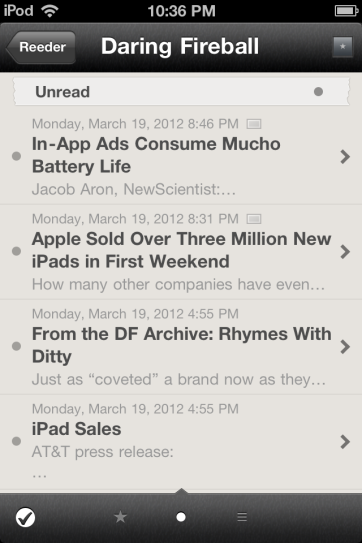 Browsing through unread items in Reeder.