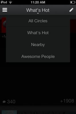 Easily swap between views in Google+.