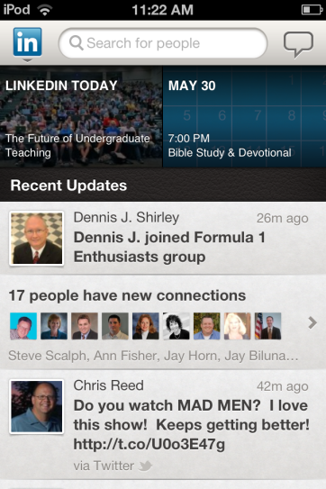 Viewing status updates in LinkedIn.