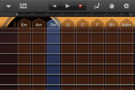 The guitar will auto-strum selected chords.