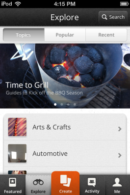 Snapguide allows for easy browsing and discovery.