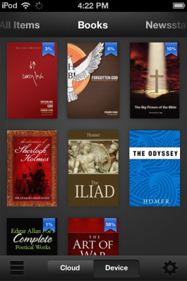 Books are visually organized in Kindle.