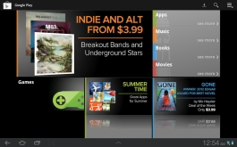 Google Play carries books, videos, apps, and music. Selection is inconsistent.