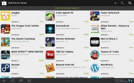 Some tablet apps are grouped together on a featured page in Google Play.