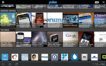 The included RSS app called Pulse.