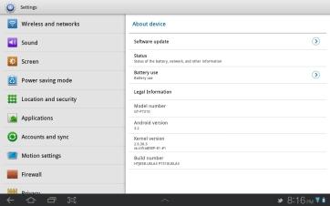 The settings app.