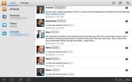 Samsung's Social Hub app accessing LinkedIn.