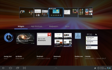 Widgets are presented visually, so you can see what you're adding to your screen.