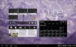 An ICS homescreen with a few widgets.