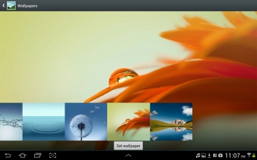 Selecting from the default ICS wallpapers.