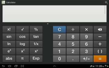 Fullscreen scientific calculator.