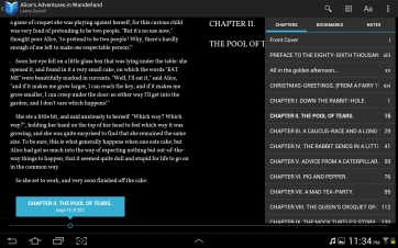 Like the Nook app, you can browse chapters directly from the menu.