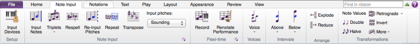 Sibelius 7 First's ribbon on the Note Input tab