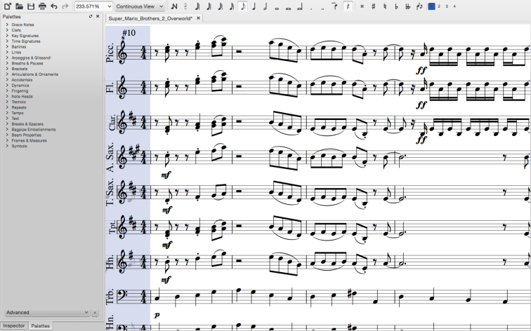 A band score in continuous view.