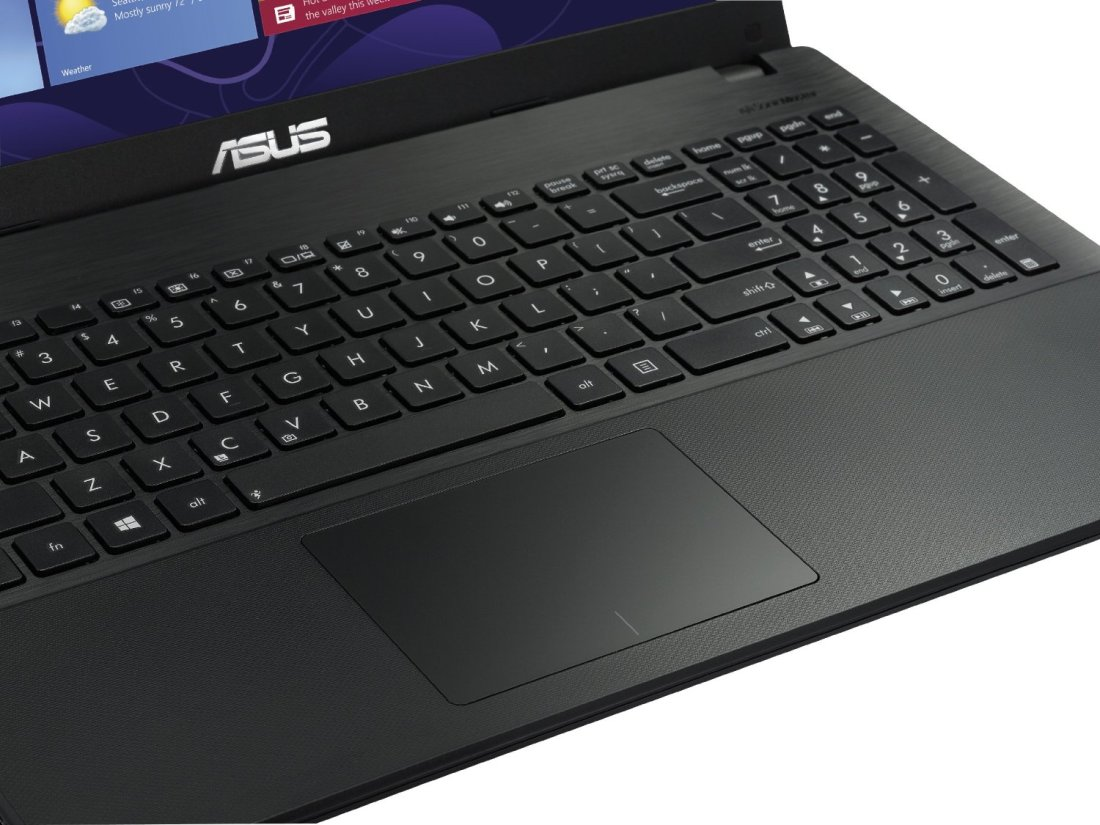 a closeup of the Asus keyboard and trackpad