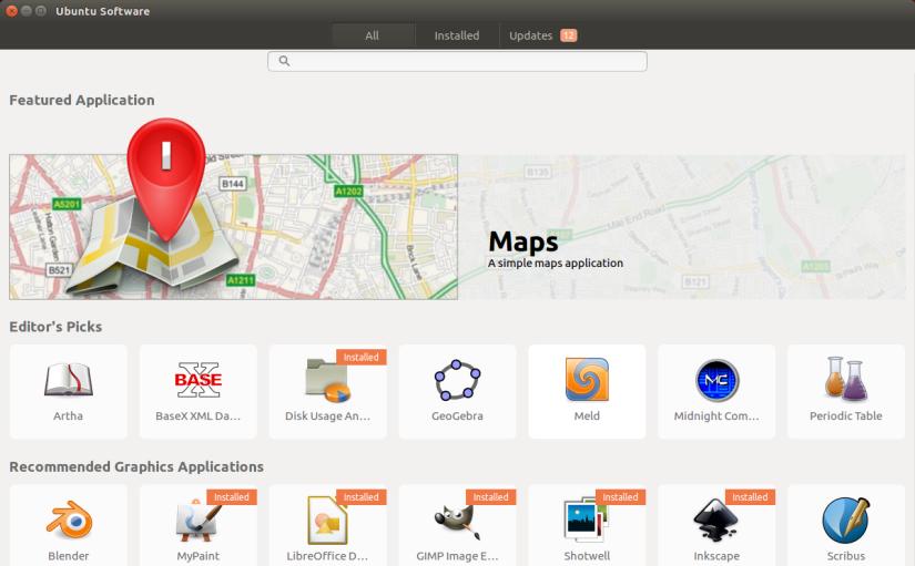 screenshot of the Ubuntu app software center