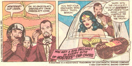 wonder woman defeating the Baron with Hostess cupcakes
