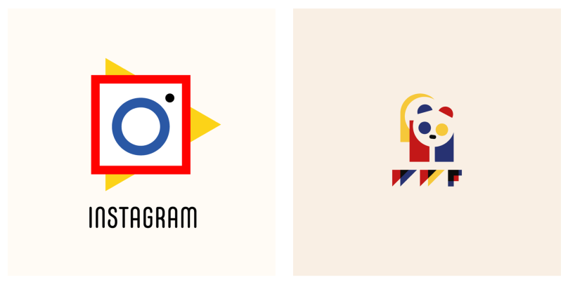 Instagram and World Wildlife Fund logos recreated in the Bauhaus style