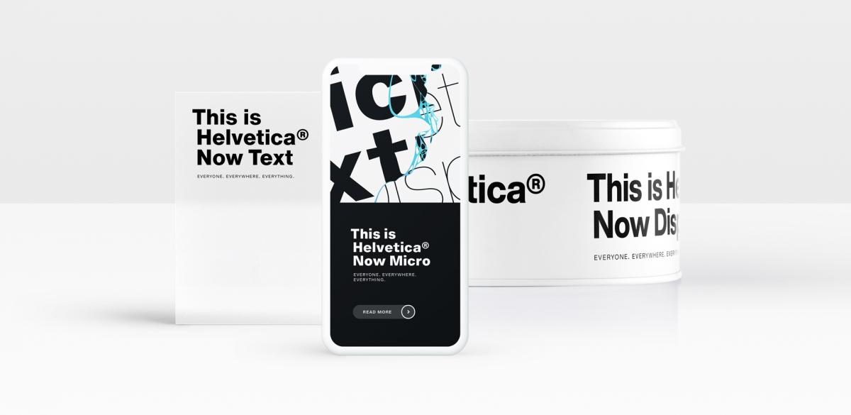 treatment of Helvetica Now on a card, a phone case, and a cylindrical container