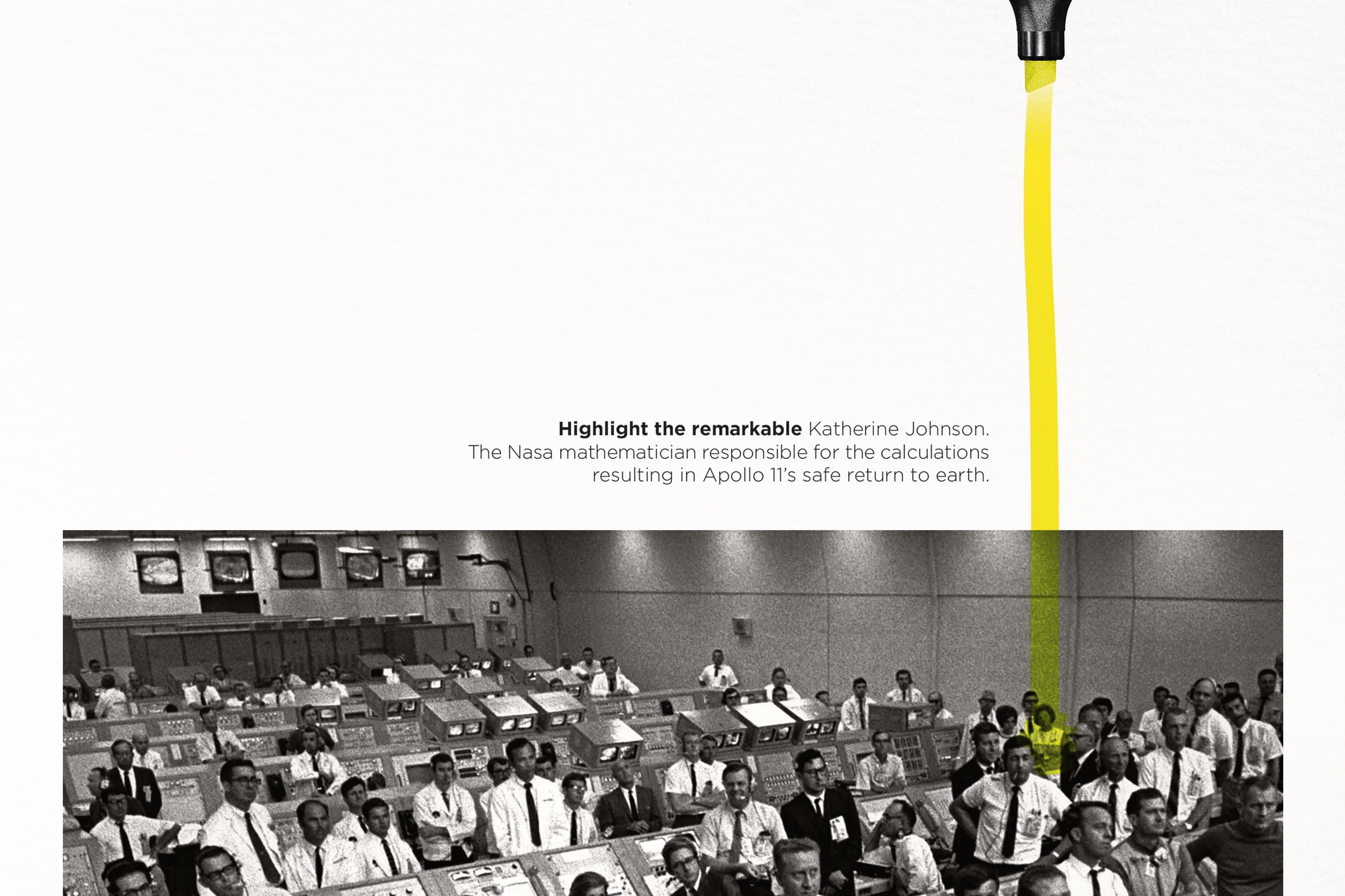 highlighter ad highlighting NASA mathematician Katherine Johnson for her contributions to the Apollo 11 mission