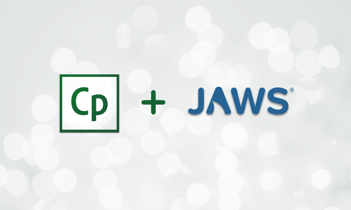 decorative image with logos for Captivate and JAWS