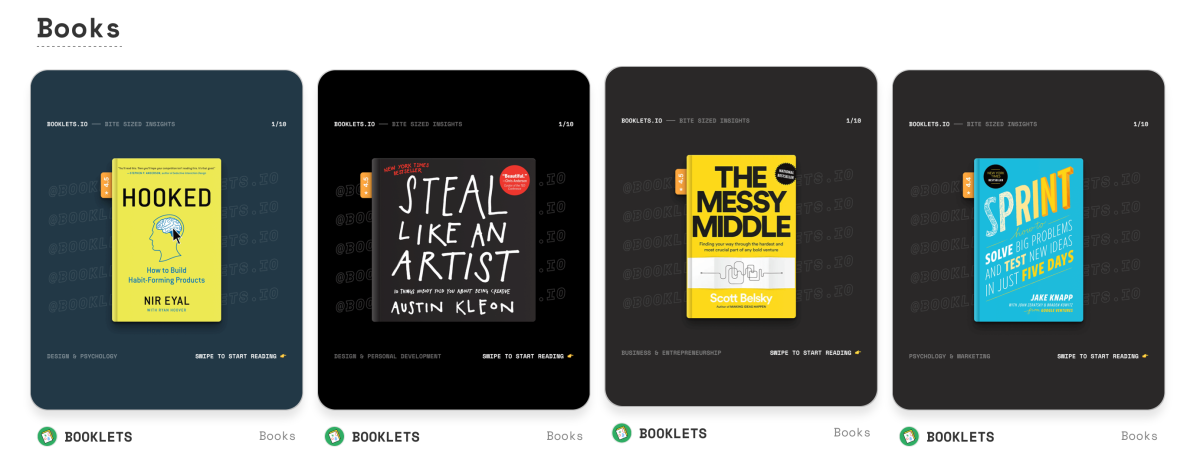 screenshot showing booklets available at booklets.io