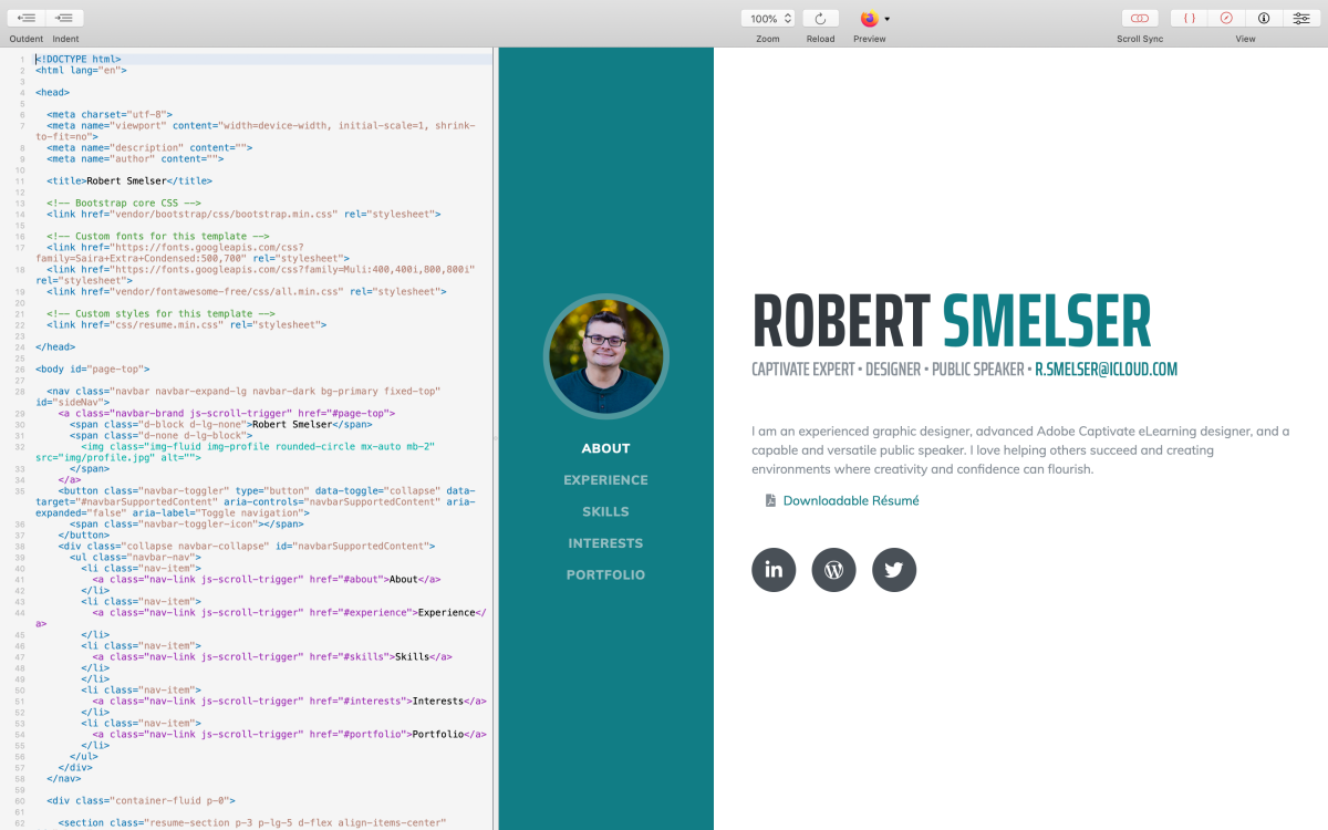 screenshot showing whisk's preview capability with code synced next to it
